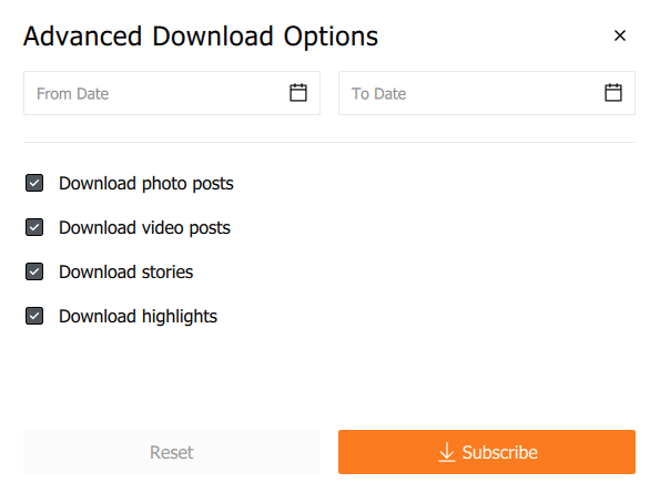 Advanced Download Options