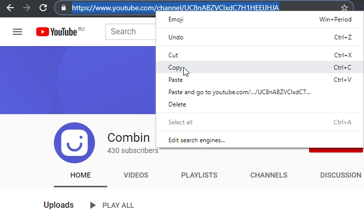 Copy browser link from Youtube channel