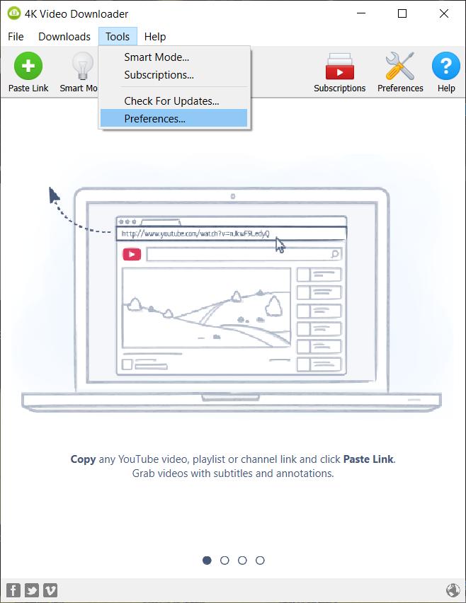 Click on preferences in 4K video downloader