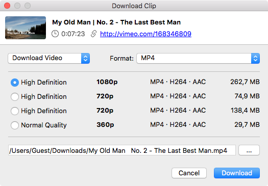 Select quality type and Download Vimeo video