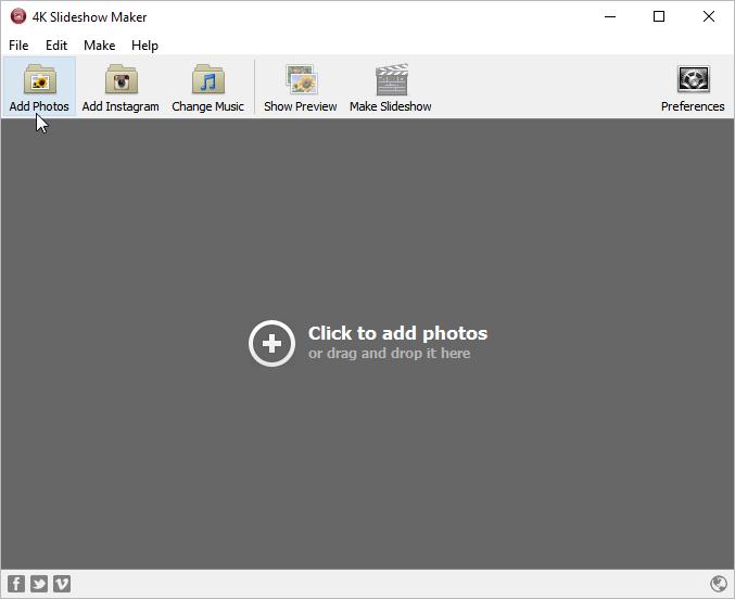 Click to Add photos to slideshow 4k Slideshow maker