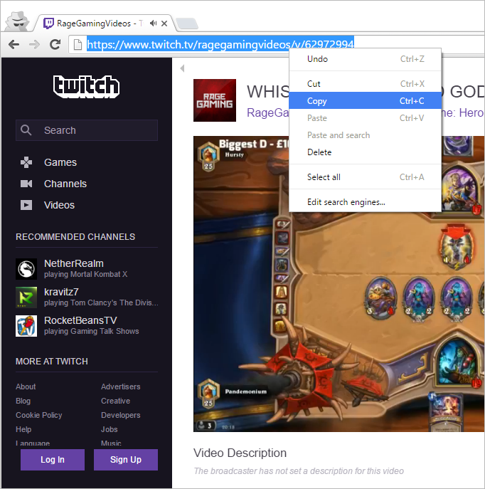 Copy browser link Twitch video