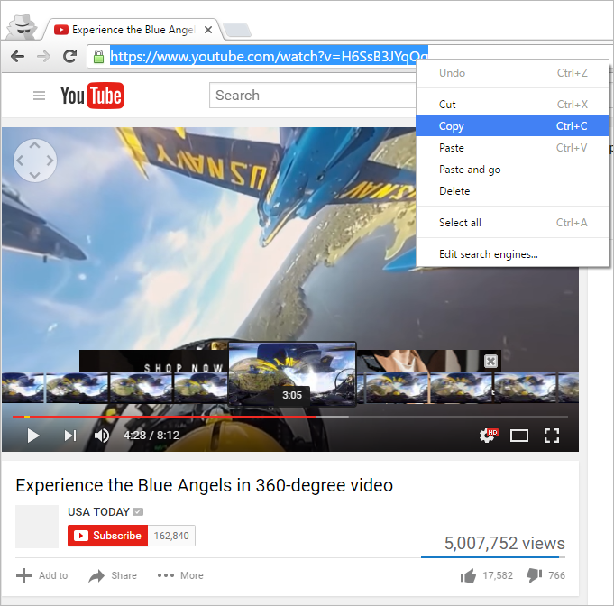 Copy browser link Youtube 360 degree video clip