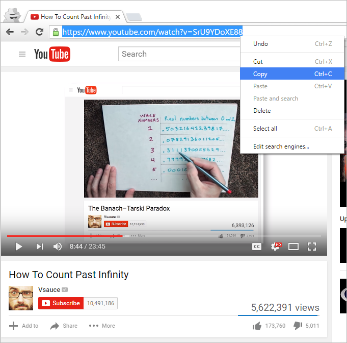 Copy browser link from Youtube video clip