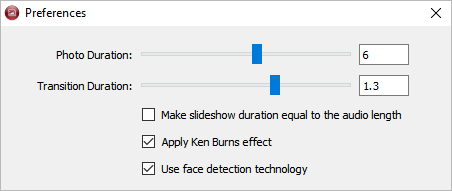 Duration Preferences in 4k Slideshow maker