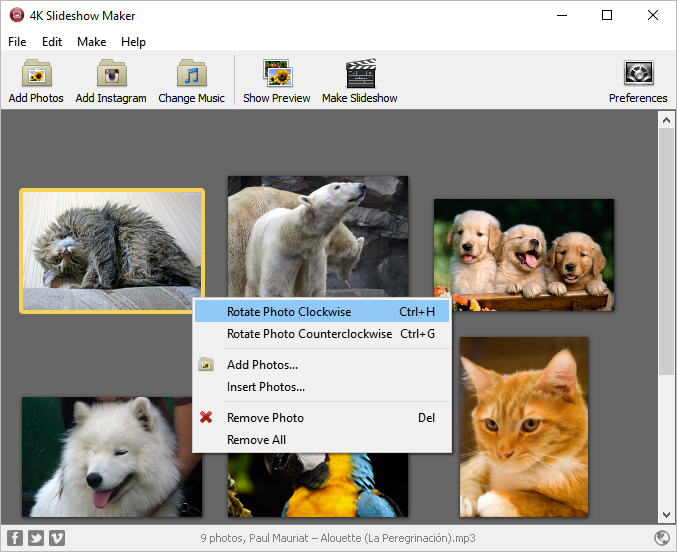 Load and setting photos in 4k Slideshow maker