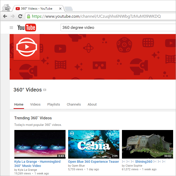 Search Youtube 360 degree videos