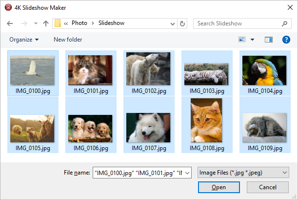 Select images for slideshow 4k Slideshow maker