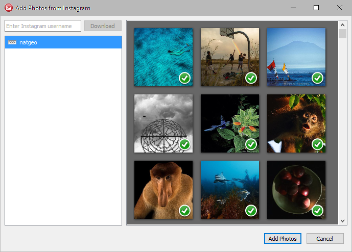 Select Instagram photos for slideshow in 4k Slideshow maker