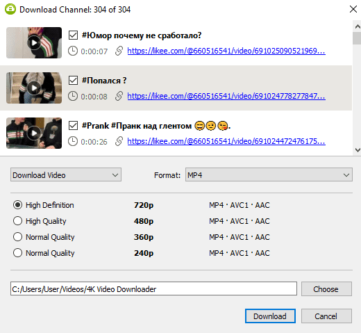 Select a quality type in the download window and download