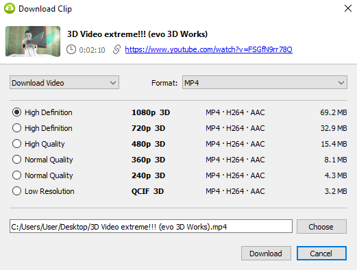 Select quality type and Download Youtube 3D video