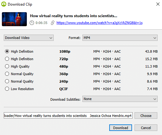 Select quality type Youtube clip and press download
