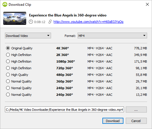 Select quality type and press Download Youtube 360 degree video