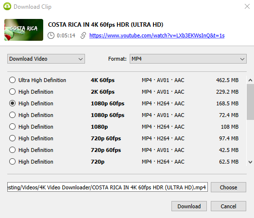 Select quality type Youtube 1080 HD clip and press Download